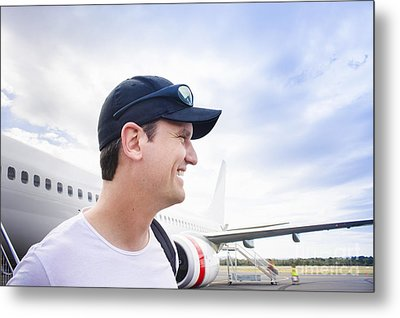 Smiling Travelling Man Standing On Airport Tarmac Metal Print by Jorgo Photography - Wall Art Gallery