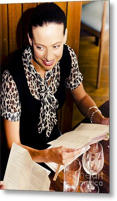 Smiling Woman At Restaurant Metal Print by Jorgo Photography - Wall Art Gallery