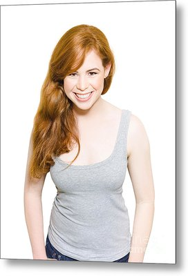Smiling Young Female With Red Hair Studio Portrait Metal Print by Jorgo Photography - Wall Art Gallery