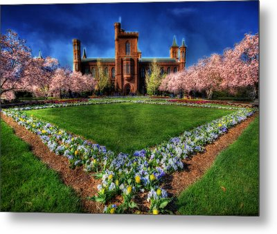 Spring Blooms In The Smithsonian Castle Garden Metal Print by Shelley Neff