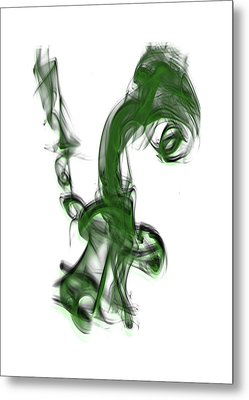 Smoke 01 - Green Metal Print
