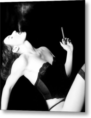 Smoke And Seduction - Self Portrait Metal Print