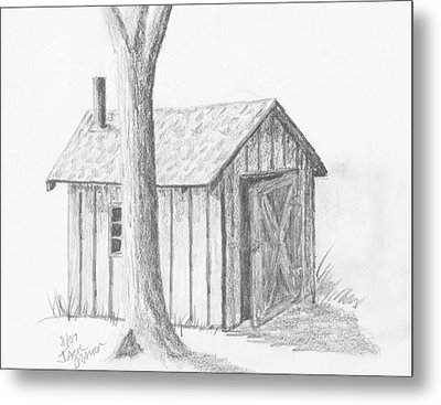 Metal Print featuring the drawing Smoke House by Jack G  Brauer