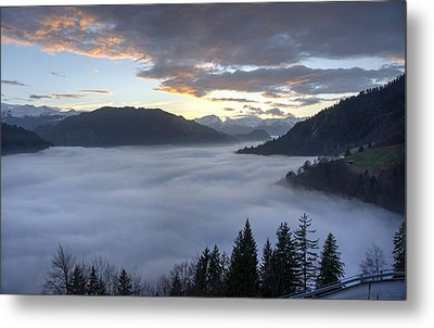 Metal Print featuring the photograph Smoke In The Valley Fire In The Sky by Peter Thoeny