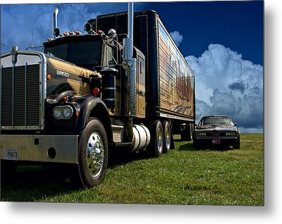 Smokey And The Bandit Tribute 1973 Kenworth W900 Black And Gold Semi Truck And The Bandit Transam Metal Print