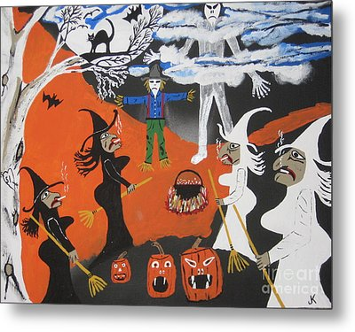 Metal Print featuring the painting Smokey Halloween by Jeffrey Koss