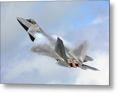 Metal Print featuring the digital art Smokin - F22 Raptor On The Go by Pat Speirs