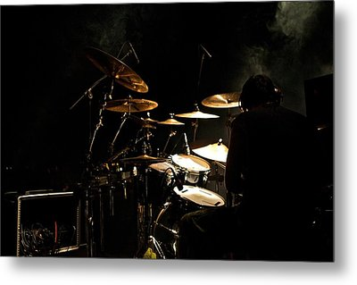Smoking Drummer Metal Print