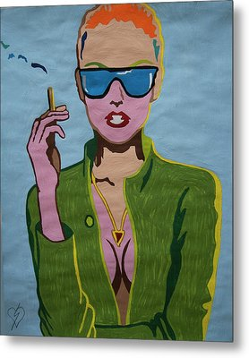 Smoking Woman Sunglasses  Metal Print