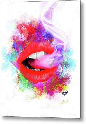 Smoking Lips Metal Print