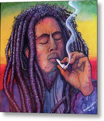 Metal Print featuring the painting Smoking Marley by David Sockrider