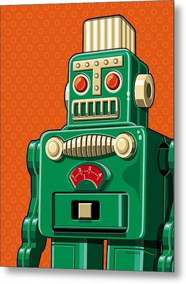Smoking Robot Metal Print