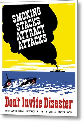 Smoking Stacks Attract Attacks Metal Print by War Is Hell Store