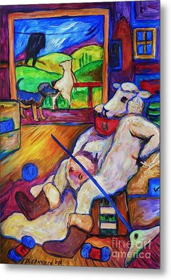 Metal Print featuring the painting Smoko At The Sheep Shearing Shed by Dianne  Connolly