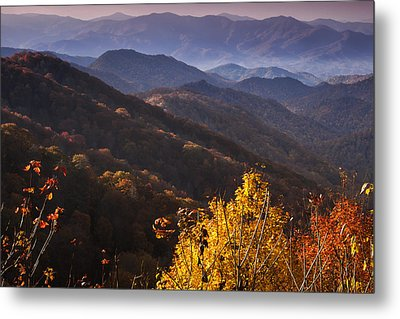 Smoky Mountain Hillsides At Autumn Metal Print by Andrew Soundarajan