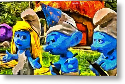 Smurfette And Friends - Da Metal Print by Leonardo Digenio