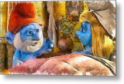 Smurfette And Papa Smurf - Da Metal Print by Leonardo Digenio