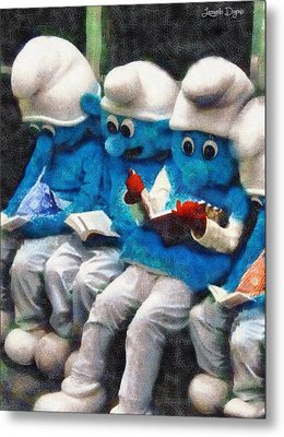 Smurfs At Library - Da Metal Print
