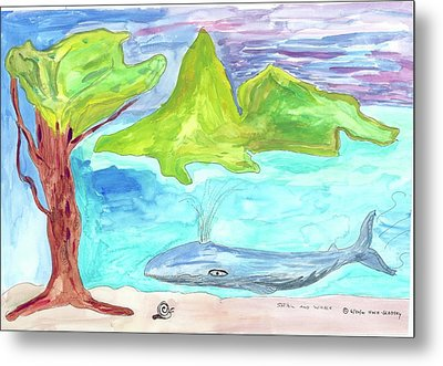 Snail And Whale Metal Print