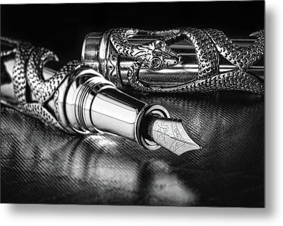 Snake Pen In Black And White Metal Print