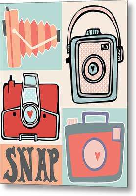 Snap - Vintage Cameras Metal Print by Colleen VT