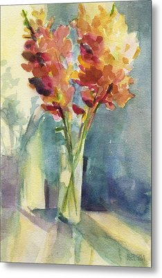Snapdragons In Morning Light Floral Watercolor Metal Print by Beverly Brown