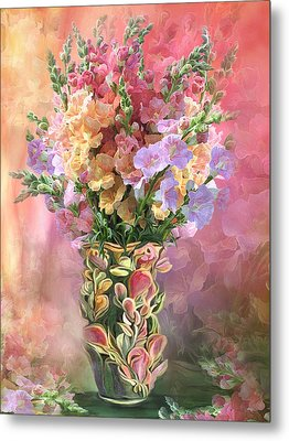 Metal Print featuring the mixed media Snapdragons In Snapdragon Vase by Carol Cavalaris