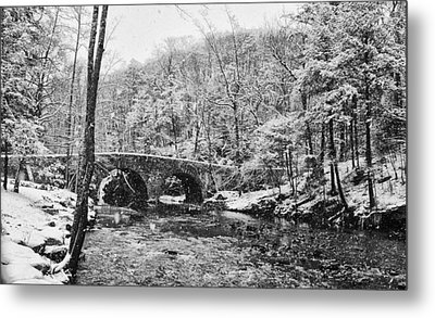 Snow Along The Wissahickon Creek Metal Print by Bill Cannon