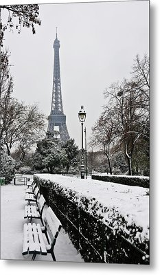 Snow Carpets Benches And Eiffel Tower Metal Print