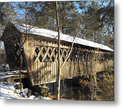 Snow Covered Bridge Metal Print by Adam Cornelison