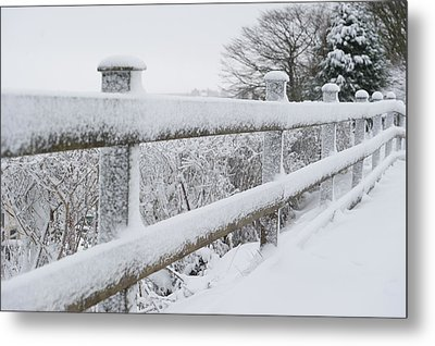 Snow Covered Fence Metal Print by Helen Northcott