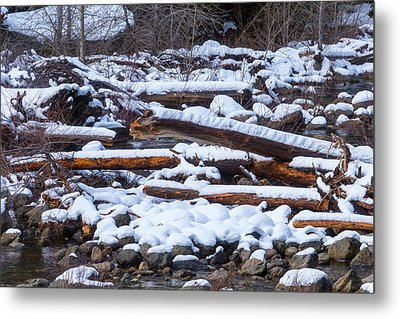 Snow Covered Logs Metal Print by Garry Gay