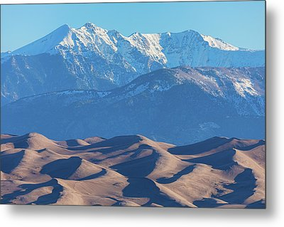 Snow Covered Rocky Mountain Peaks With Sand Dunes Metal Print by James BO Insogna