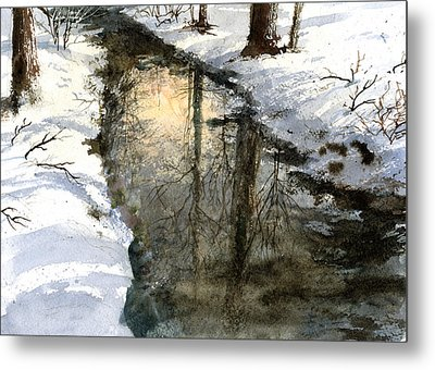 Metal Print featuring the painting Snow Creek by Andrew King