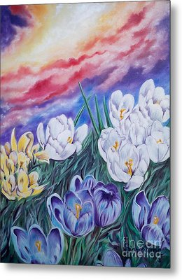 Metal Print featuring the painting Snow Crocus by Sigrid Tune