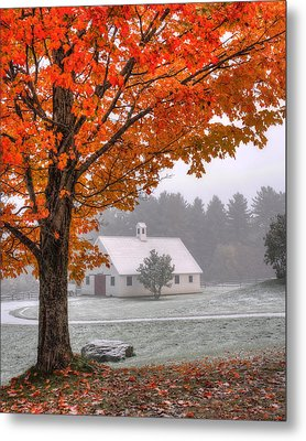 Snow Dust Over Autumn Foliage Metal Print by Joann Vitali
