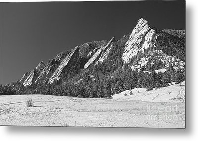 Snow Dusted Flatirons Boulder Co Panorama Bw Metal Print by James BO  Insogna