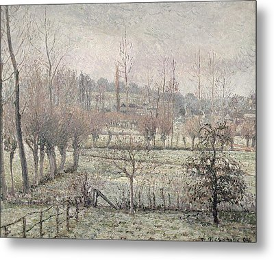 Snow Effect At Eragny Metal Print by Camille Pissarro