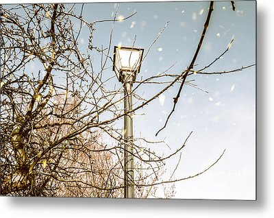 Snow Fall And Old Lights Metal Print by Jorgo Photography - Wall Art Gallery