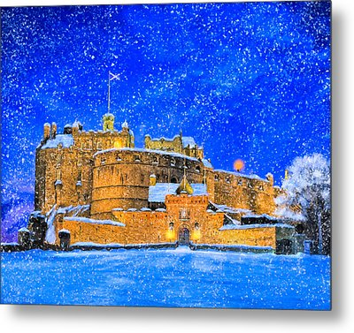 Snow Falling On Edinburgh Castle Metal Print by Mark Tisdale