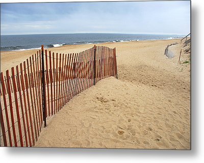 Snow Fence - Plum Island Metal Print