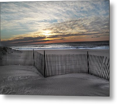 Snow Fence At Coopers Beach Metal Print