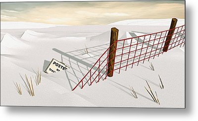 Snow Fence Metal Print by Peter J Sucy