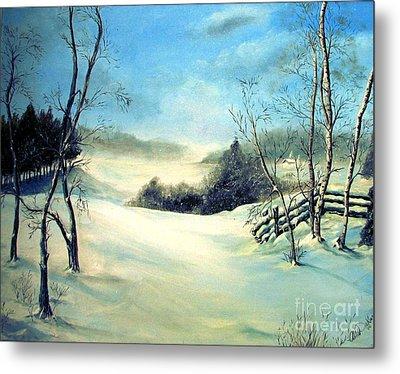 Metal Print featuring the painting Snow Flurries by Anna-Maria Dickinson