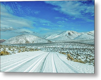 Snow In Death Valley Metal Print by Peter Tellone