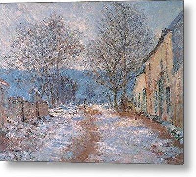 Snow In Limetz   Effet De Neige A Limetz Metal Print by Claude Monet