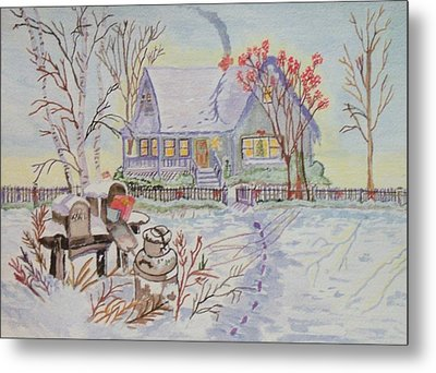 Metal Print featuring the painting Snow In Oregon by Connie Valasco