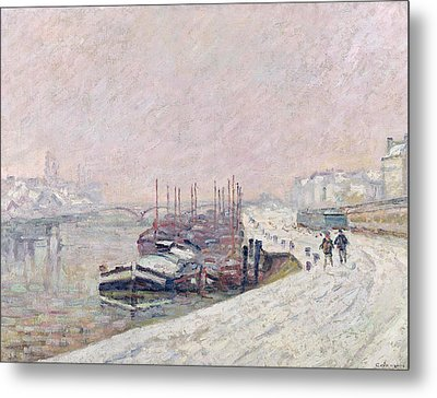 Snow In Rouen Metal Print