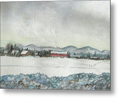 Snow In The Berkshires Metal Print by Judy Riggenbach