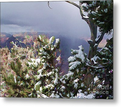 Metal Print featuring the photograph Snow In The Canyon by Roberta Byram